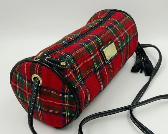 90's Red Plaid Cylinder Shape Crossbody Purse - Vintage Preppy Grunge Clueless Plaid Red & Black Tube Purse Long Strap Faux Leather Nineties