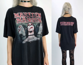 96' Vintage Marilyn Manson Sweet Dreams Are Made Of This TShirt Large - Faded Charcoal Black Goth Metal Band Marilyn Manson Concert Tee