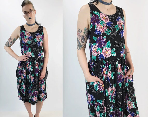 80's All Over Print Black Floral Casual Spring Midi Dress Medium - Vintage Sleeveless Sundress W/ Pockets Allover Rose Print Rayon Dress
