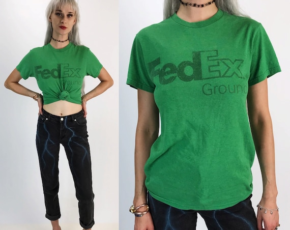 80s Vintage FedEx Graphic Tee Adult Small - 50/50 Kelly Green Unisex Postal Service Worker Shirt - Soft Faded Retro Short USA Fed Ex Tee