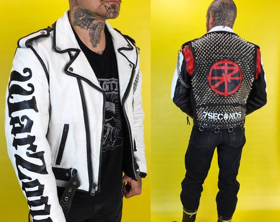 Vintage Spiked Studded Punk Hardcore Custom 7 Seconds Hand Painted FMC 36 - Moto/Biker Black White Red Minor Threat Warzone Badass Jacket