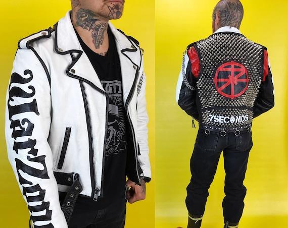 Vintage Spiked Studded Punk Hardcore Custom 7 Seconds Hand Painted FMC 36 - Moto/Biker Black White Red Minor Threat Warzone Badass Jacket