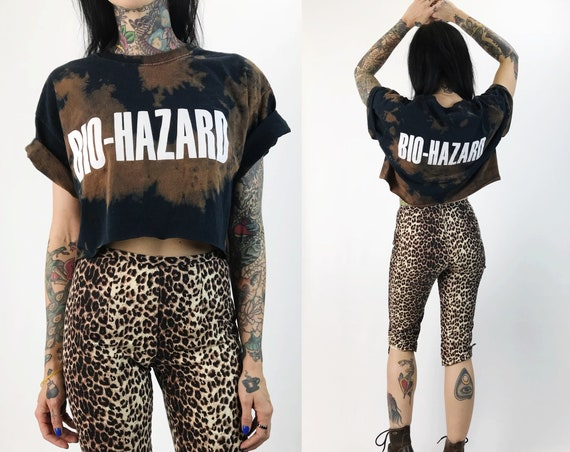 Bio-Hazard Cropped Tie dye Bleach Tee M/L  - Cropped Athletic Biohazard Shirt Black Brown Grunge Cut Off T-shirt Boihazard