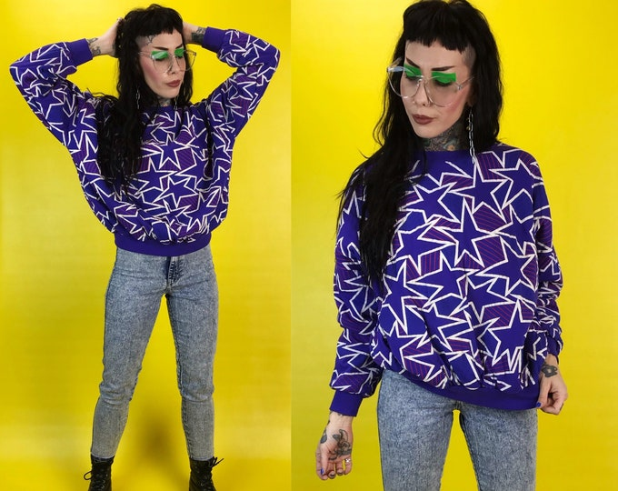 80's Stars Allover Print Abstract Purple Quilted Warm Cozy Soft Pullover Sweater Women's S/M - Thick VTG Retro Sweatshirt Weird Fun Eighties