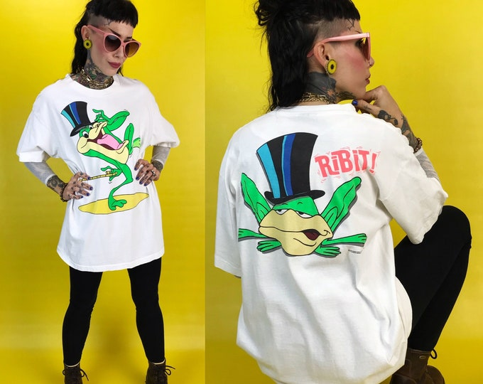 90's Warner Brothers WB Frog Iconic TV Series Graphic T-Shirt Large Unisex - TV Program Promo Michigan J. Frog Looney Tunes Merrie Melodies