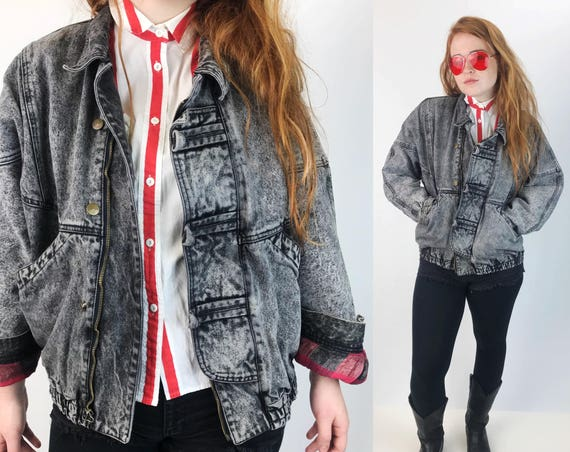 90's Acid Wash Gray Denim Coat With Red Flannel Lining Adult Large - VTG Baggy Street Wear Faded Distressed Winter Jean Coat Black Gray