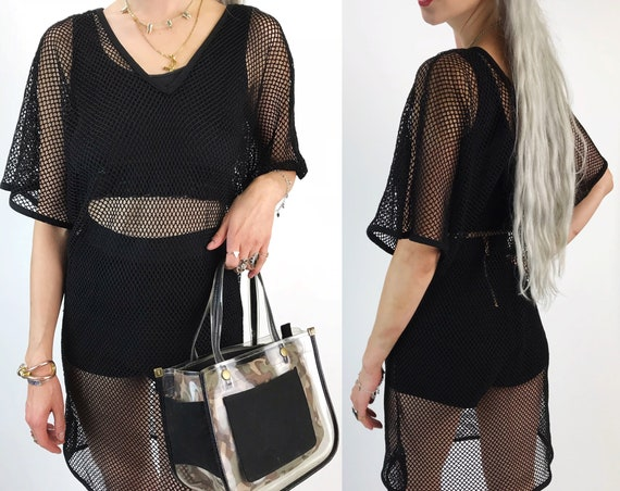 80's Black Mesh Dress Layer One Size  - Long Goth Grunge See Through Mesh Shirt Dress - Small Medium Large Batwing Goth Slouchy Unisex Layer