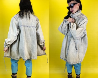80s Acid Wash Girly Winter Denim Coat Thick Quilted Outerwear Women S/M - Rare VTG Long Denim Floral Coat Warm Zip Up Pink Lining Streetwear