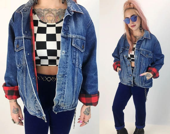 90's Thick Denim Jacket with Red Plaid Lining Medium Adult - Worn In Soft Jean Jacket Everyday Coat - Warm Winter Must Have Jean Jacket