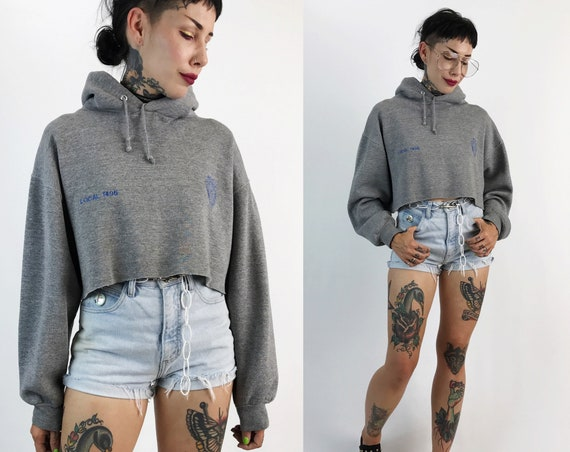 Vintage Police Issued Soft Cropped Pullover Hoodie Medium - Heather Gray Faded Badge Pullover Crop Top Long Sleeve Soft Cotton Hooded Top