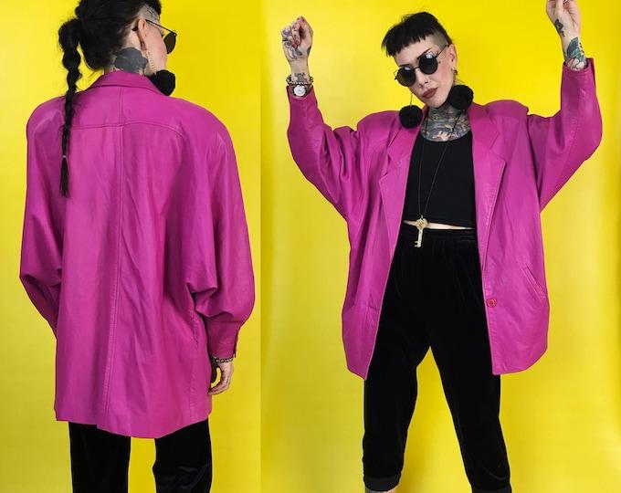 80's Hot Pink Soft Leather Blazer Jacket Womens Medium - Chic Over Sized Blazer w/ Shoulder Pads Neon Girly Boss Lady VTG Statement Coat