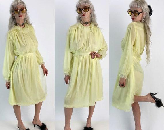 80's Pale Yellow Midi Dress Medium - VTG High Neck Semi Sheer Lolita Girly Sweet Pastel Kawaii  Long Sleeve Formal VTG Granny Dress