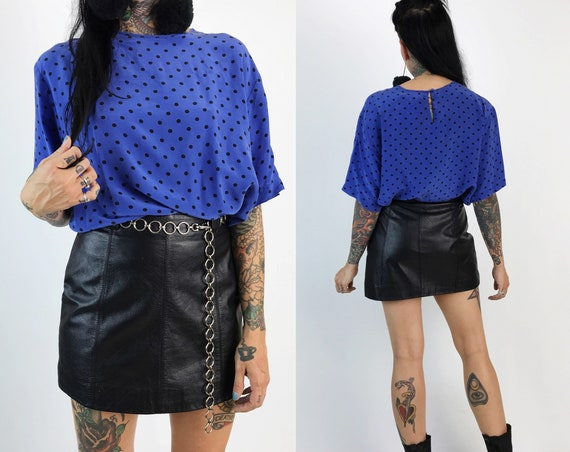 80's Polka Dot Silk Blouse Medium - Periwinkle Blue Polka Dot Silky Loose Fitting Shirt - Black & Blue VTG 90s Allover Print Cute Casual Top