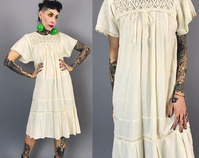 Vintage Cotton Boho Muu Muu Tent Dress Womens Small Tunic - Ivory Beige Festival Nautral Artist Sundress - Chic Lace Detail Spring Dress