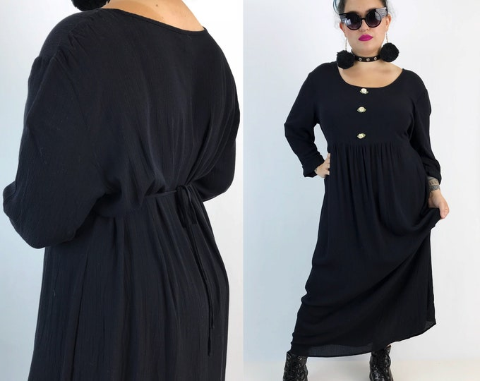 90's Black Babydoll Romantic Maxi Dress Women's XL Plus Size - Long Loose Tie Back Matrenity Dress With Rose Bows Vintage Girly Rayon Dress