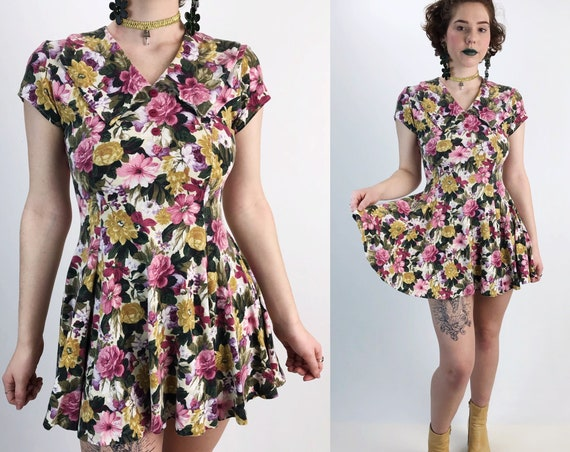 90's Girly Floral Cotton Mini Dress Small - Pink Allover Print 1990's Preppy Romantic Cute Comfy Everyday Mini Date Skater Dress With Collar