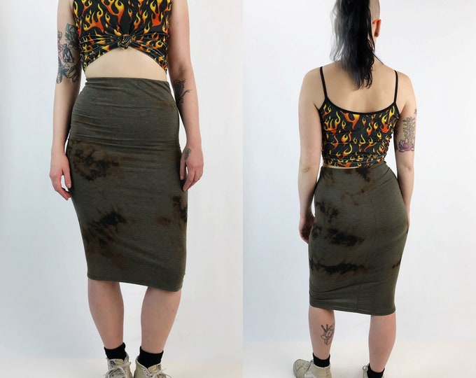 Black Tie Dye Cotton Midi Skirt High Waist Small - Bleach Grunge Dark Tie Dye Bodycon Tight Skirt - Black Brown Grunge Goth Form Fitting