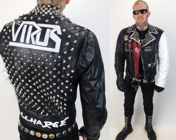 Leather Punk Jacket Mens 38 - Spiked Studded Custom Leather Painted Leather Biker Jacket  D.I. - Virus - Discharge Band Logo Red White Black