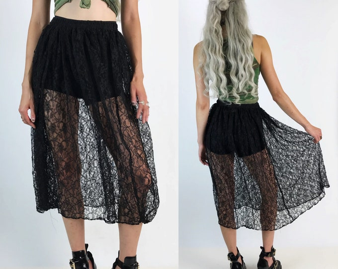 80's Black Lace Layering Skirt High Waisted Sheer Layer S/M Elastic - Long VTG Lace Midi Skirt Elastic Waistband Fun Girly Romantic Goth Lay