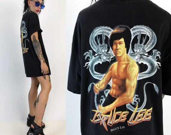 90's Bruce Lee Tee Shirt Adult XL - Rare Nineties Vintage Front & Back Print Dragon Graphic Martial Arts Actor Bruce Lee Bad Ass T-Shirt