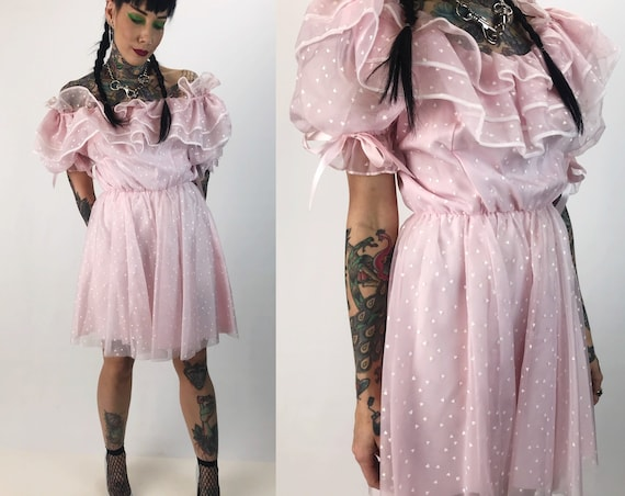 80's Pastel Pink Heart Allover Print Mini Dress Small - Puffy Sleeve Off The Shoulder Lolita Romantic Girly Puff Sleeve Valentine Minidress