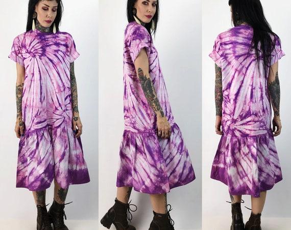 80's Purple Tie Dye Upcycled Drop Waist Tee Shirt Dress Medium/Large - Purple Swirl Funky Weird Ruffle Hem Statement Shift Dress Cotton