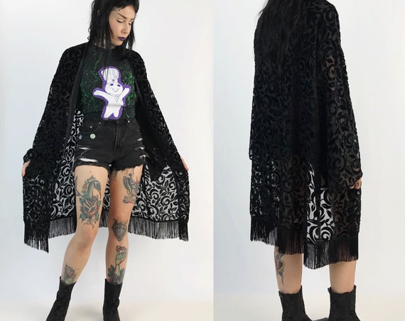 80s Black Fringe Open Kimono/Layering Top - Vintage Long Sheer Floral Velvety Sheer Cover Up - Union Made BOHO See Through Open Top One Size