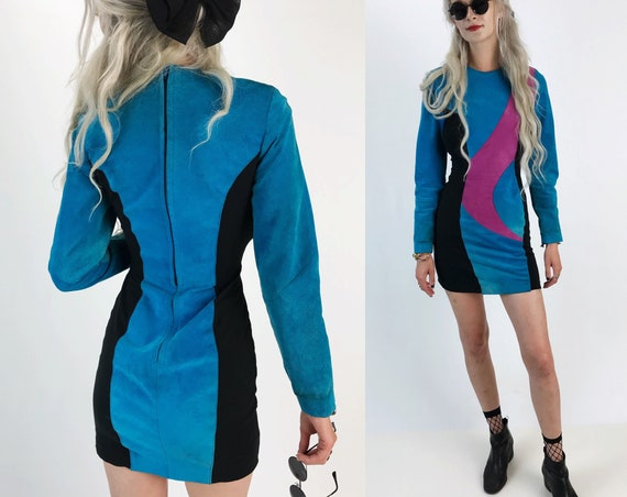 RARE 80's Suede Long Sleeve Mini Party Dress - Genuine Leather Vintage Colorful Sexy Dress 4/6 Small - Black/Blue/Purple Tight Seude Dress