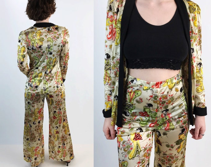 70's Vintage Two Piece Pants and Jacket Set Small - Matching Japanese Allover Print Wide Leg High Waist Pants & Blazer Coordinates Outfit