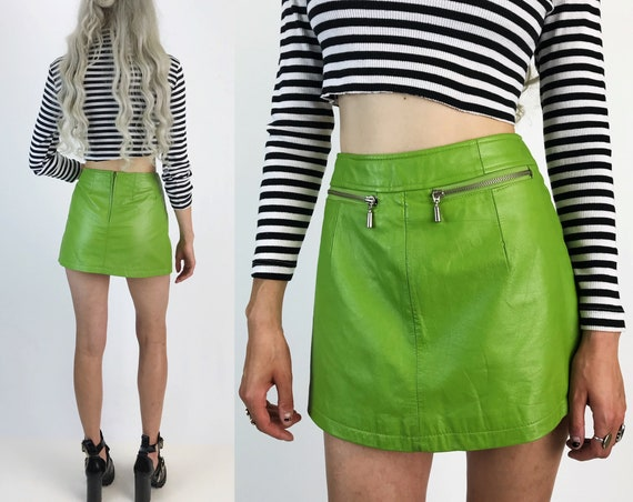 90s Neon Green Leather Mini Skirt Small Size 4 - High Waist Maxima Wilsons Genuine Leather Skirt - Acid Slime Green A-Line Mini w/ Pockets