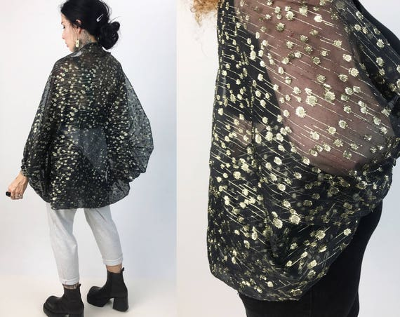 Handmade Gold Metallic Cropped Sheer Party Bolero Jacket Layer One Size - Golden 80's RARE Open Layer - Sparkle Glitter Party Top Cover Up