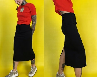 High Waist Sporty Black Y2K Midi Skirt XS/S - Limited Too Basic High Waist Tight Midi Skirt w/ Back Slit - Stretchy Long Sporty Athleisure