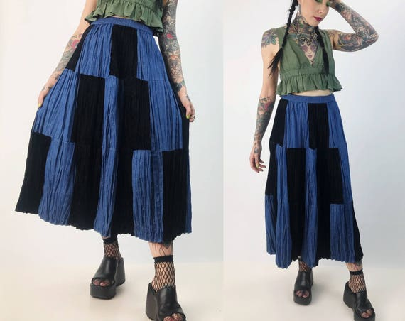 90's Denim + Black Velvet Midi Skirt High Waist Size Small - Checker Patchwork Mixed Fabrics Vintage Black/Blue Denim Skirt Elastic Waist