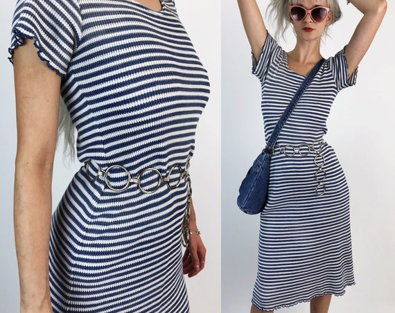 90's Striped Ribbed Stretchy Midi Dress S/M - Blue White Horizontal Striped VTG Casual Basic Knit Dress - Grunge Lettuce Hem Bodycon Midi