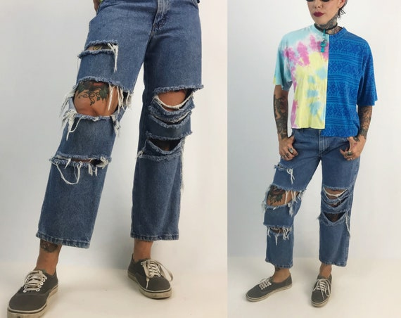 "90's Distressed Boyfriend Style Jeans Small 30"" - Wide Leg Flood Denim Pants Grunge Boys Husky Baggy Holey Ripped Knee Destroyed Denim Jeans"
