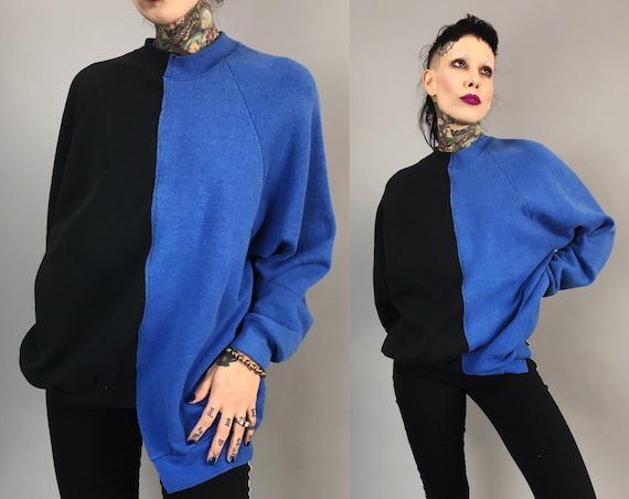 Reconstructed 2 Tone Pullover Sweatshirt Adult Medium - Remade Split Half & Half Mixed Color Block Blue Black Upcycled Long Baggy Streetwear