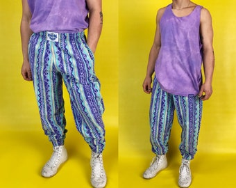 80s/90s All Over Abstract Printed Baggy Pants Mens Small - Baggy Elastic Waist Hip Hop Colorful Blue Green Purple Funky Work Out Joggers