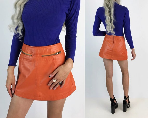 90s Orange Leather Mini Skirt Small Size 4 - High Waist Ms. Maxima Wilsons Leather Skirt - Peachy Orange A-Line Mini w/ Zipper Pockets Small