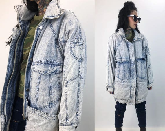 80's Acid Was Winter Denim Coat Thick Quilted Outerwear Adult Large  - Rare VTG Multi Pocket Long Denim Winter Coat Warm Zip Up Streetwear