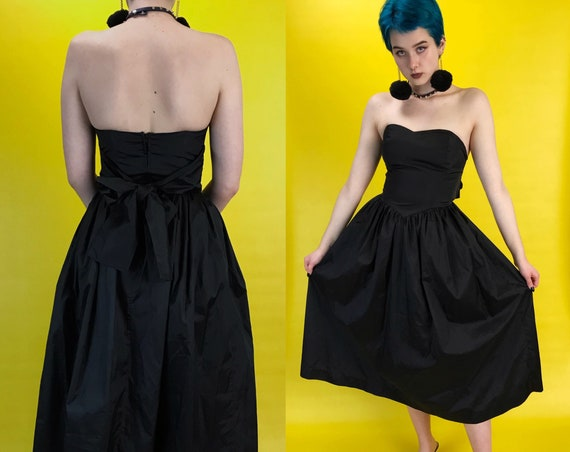 80s Black Strapless Sweetheart Midi Dress Small - Vintage Rare Handmade Womens Formal Goth Prom Dress Fit & Flare Solid Black Bodice Dress