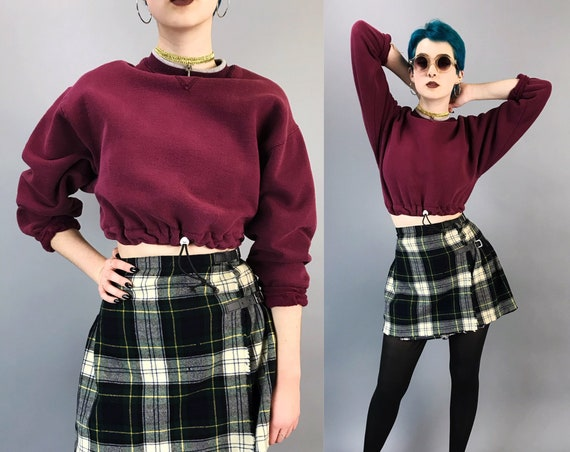 Vintage Elastic Drawstring Waist Cropped Pullover Sweatshirt Small - Womens Burgundy Elastic Waist Long Sleeve Upcycled Remade Sporty Grunge