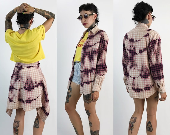 80's Vintage Red Tie Dye Bleached Plaid Flannel Button Up womens Small - Grunge Boyfriend Flannel Rustic Tie Dye Soft Baggy Flannel