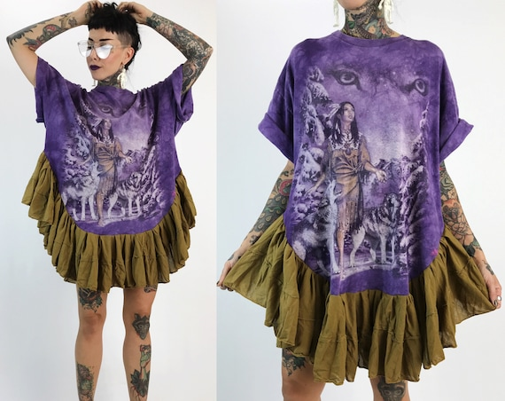 Upcycled Fantasy Lunar Eclipse Tee Shirt Tunic Dress - Unique Recycled Mini Dress Adult Tunic Ruffle - Tiedye Remade Weird Fun Street Wear