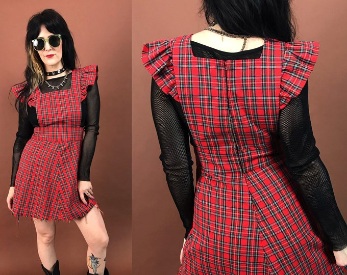 80's Red Plaid Jumper Dress Small - Cap Sleeve Pinafore Mini Dress Fitted Trendy Tartan Tank Jumper w/ Frayed Hem- Cute VTG Schoolgirl Dress