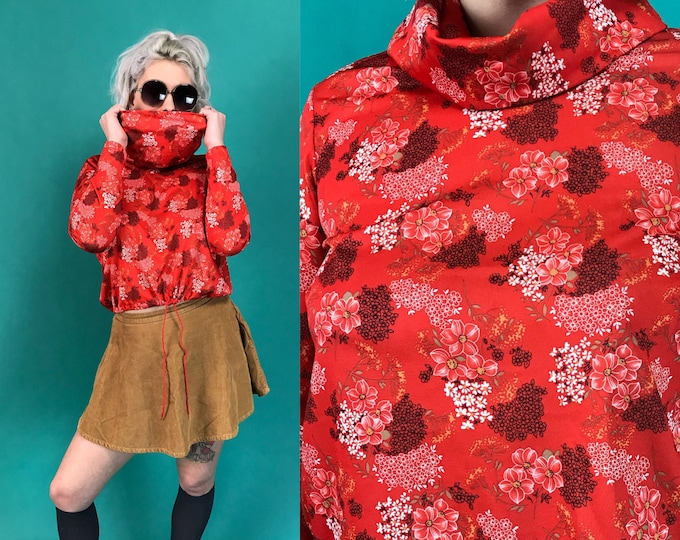 70's Drawstring Waist Cowl Neck Red Floral Polyester Blouse Small - Flower Print Cherry Blossom Long Sleeve Retro Top w/ Slouchy Turtleneck