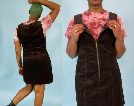 90's Vintage Chocolate Brown Corduroy Zip up Jumper Minidress Medium - Casual Fall Dress Everyday Textured Sleeveless Ribbed Corduroy DRESS