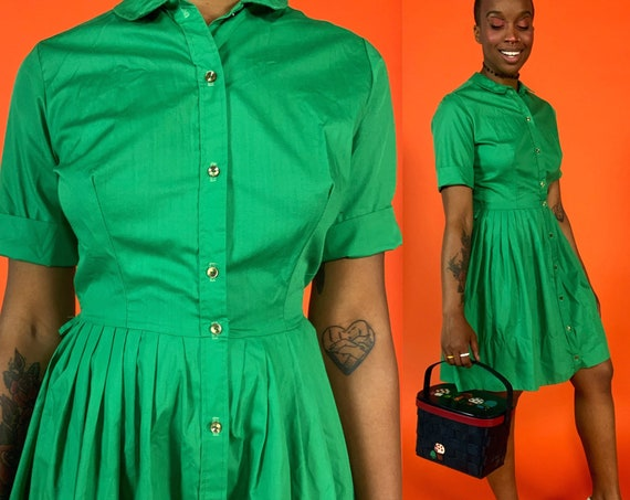 60s Handmade Green Vintage Day Dress Small - Above The Knee Button Front True Vintage Casual Cotton Dress - Wifey Pinup Girly Style Dress