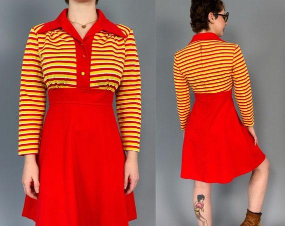 Retro 70's MOD Dress Small US 7/8 - Orange Striped Long Sleeve A-Line Day Dress - RARE True Vintage Fashion Dress w/ Collar Funky Bright