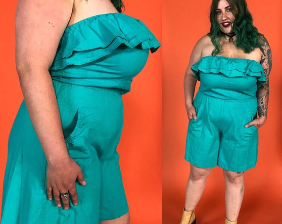 80's Teal Green Shorts Romper Large - Strapless One Piece Spring/Summer Playsuit Casual Romper - Ruffle Top Basic Shorts Suit w/ Pockets