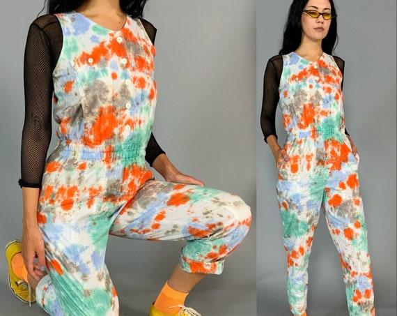 90's Tie dye Vintage Pants Jumpsuit Small 4/6 - Unique Hand Dyed Multi Color One Piece Jumpsuit - Nineties Neon Splatter Print Overalls